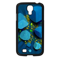 Cube Leaves Dark Blue Green Vector  Samsung Galaxy S4 I9500/ I9505 Case (black) by amphoto