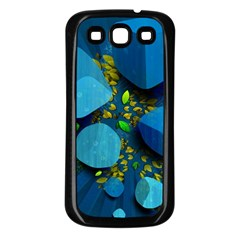 Cube Leaves Dark Blue Green Vector  Samsung Galaxy S3 Back Case (black) by amphoto