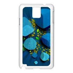 Cube Leaves Dark Blue Green Vector  Samsung Galaxy Note 3 N9005 Case (white) by amphoto