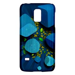 Cube Leaves Dark Blue Green Vector  Galaxy S5 Mini by amphoto