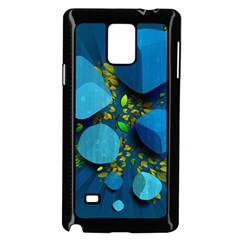 Cube Leaves Dark Blue Green Vector  Samsung Galaxy Note 4 Case (black) by amphoto