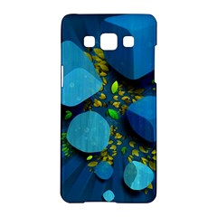 Cube Leaves Dark Blue Green Vector  Samsung Galaxy A5 Hardshell Case  by amphoto