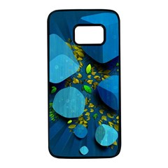 Cube Leaves Dark Blue Green Vector  Samsung Galaxy S7 Black Seamless Case by amphoto