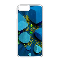 Cube Leaves Dark Blue Green Vector  Apple Iphone 7 Plus White Seamless Case by amphoto