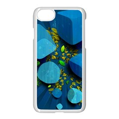 Cube Leaves Dark Blue Green Vector  Apple Iphone 7 Seamless Case (white) by amphoto