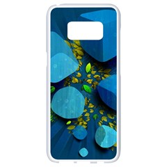 Cube Leaves Dark Blue Green Vector  Samsung Galaxy S8 White Seamless Case by amphoto
