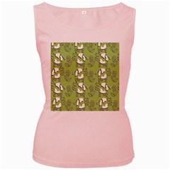 Cow Flower Pattern Wallpaper Women s Pink Tank Top