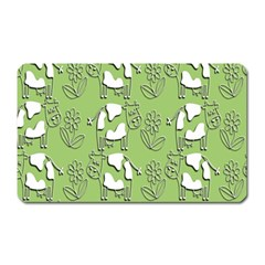 Cow Flower Pattern Wallpaper Magnet (rectangular) by Nexatart