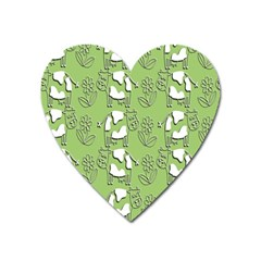 Cow Flower Pattern Wallpaper Heart Magnet