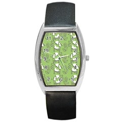 Cow Flower Pattern Wallpaper Barrel Style Metal Watch by Nexatart
