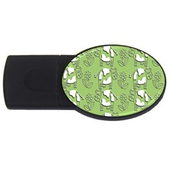 Cow Flower Pattern Wallpaper Usb Flash Drive Oval (4 Gb) by Nexatart