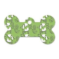 Cow Flower Pattern Wallpaper Dog Tag Bone (two Sides)