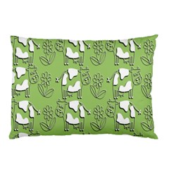 Cow Flower Pattern Wallpaper Pillow Case by Nexatart