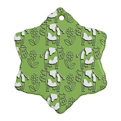 Cow Flower Pattern Wallpaper Ornament (snowflake)