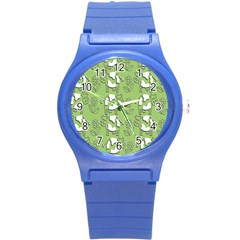 Cow Flower Pattern Wallpaper Round Plastic Sport Watch (s) by Nexatart