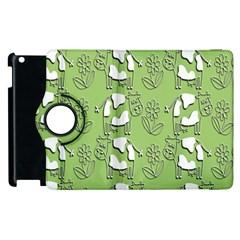 Cow Flower Pattern Wallpaper Apple Ipad 2 Flip 360 Case by Nexatart