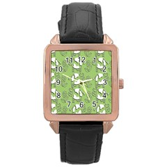 Cow Flower Pattern Wallpaper Rose Gold Leather Watch  by Nexatart