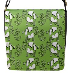 Cow Flower Pattern Wallpaper Flap Messenger Bag (s) by Nexatart
