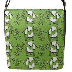 Cow Flower Pattern Wallpaper Flap Messenger Bag (s) by Nexatart
