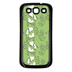 Cow Flower Pattern Wallpaper Samsung Galaxy S3 Back Case (black)