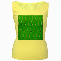 Giraffe Pattern Wallpaper Vector Women s Yellow Tank Top