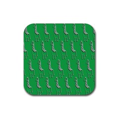 Giraffe Pattern Wallpaper Vector Rubber Square Coaster (4 Pack)