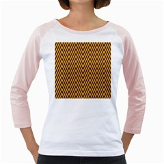 Chevron Brown Retro Vintage Girly Raglans by Nexatart