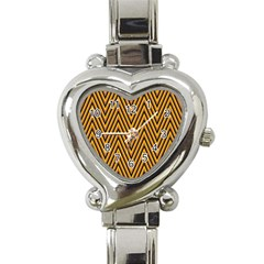 Chevron Brown Retro Vintage Heart Italian Charm Watch
