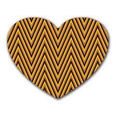 Chevron Brown Retro Vintage Heart Mousepads by Nexatart