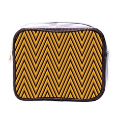 Chevron Brown Retro Vintage Mini Toiletries Bags