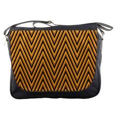 Chevron Brown Retro Vintage Messenger Bags by Nexatart