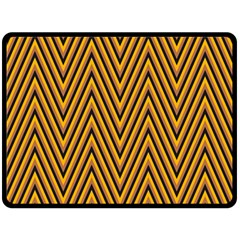 Chevron Brown Retro Vintage Double Sided Fleece Blanket (large)