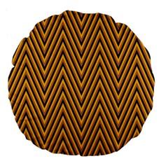 Chevron Brown Retro Vintage Large 18  Premium Flano Round Cushions by Nexatart