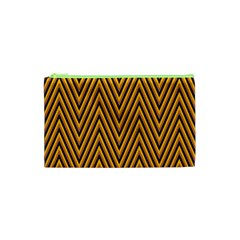 Chevron Brown Retro Vintage Cosmetic Bag (xs)