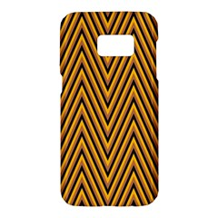 Chevron Brown Retro Vintage Samsung Galaxy S7 Hardshell Case  by Nexatart