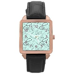 Pattern Medicine Seamless Medical Rose Gold Leather Watch