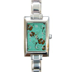 Chocolate Background Floral Pattern Rectangle Italian Charm Watch