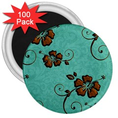 Chocolate Background Floral Pattern 3  Magnets (100 Pack) by Nexatart