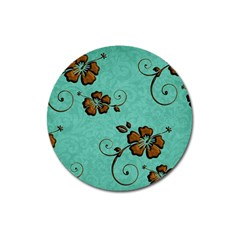 Chocolate Background Floral Pattern Magnet 3  (round)