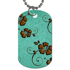 Chocolate Background Floral Pattern Dog Tag (two Sides)