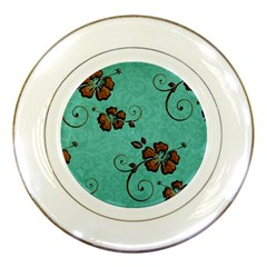 Chocolate Background Floral Pattern Porcelain Plates by Nexatart