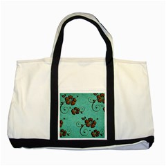 Chocolate Background Floral Pattern Two Tone Tote Bag by Nexatart