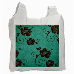 Chocolate Background Floral Pattern Recycle Bag (one Side)