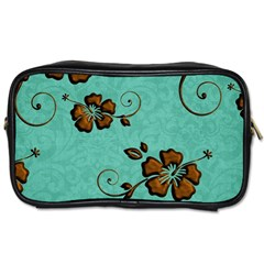 Chocolate Background Floral Pattern Toiletries Bags 2 Side by Nexatart