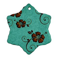Chocolate Background Floral Pattern Snowflake Ornament (two Sides)