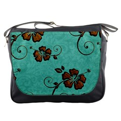 Chocolate Background Floral Pattern Messenger Bags