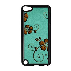 Chocolate Background Floral Pattern Apple Ipod Touch 5 Case (black)