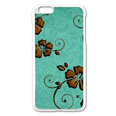 Chocolate Background Floral Pattern Apple Iphone 6 Plus/6s Plus Enamel White Case