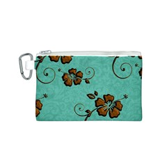 Chocolate Background Floral Pattern Canvas Cosmetic Bag (s) by Nexatart