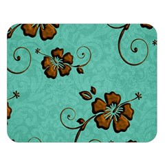Chocolate Background Floral Pattern Double Sided Flano Blanket (large)